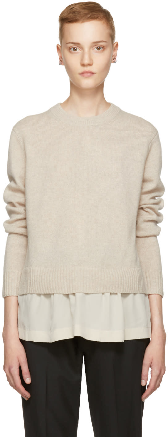 Image of Joseph Beige Wool Layered Sweater