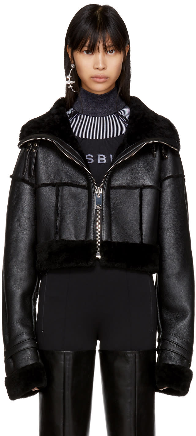 Image of Misbhv Black Cropped Shearling Jacket
