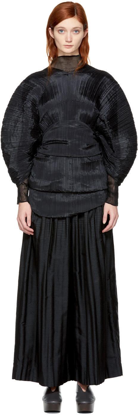 Image of Pleats Please Issey Miyake Black Multi-wear Scarf