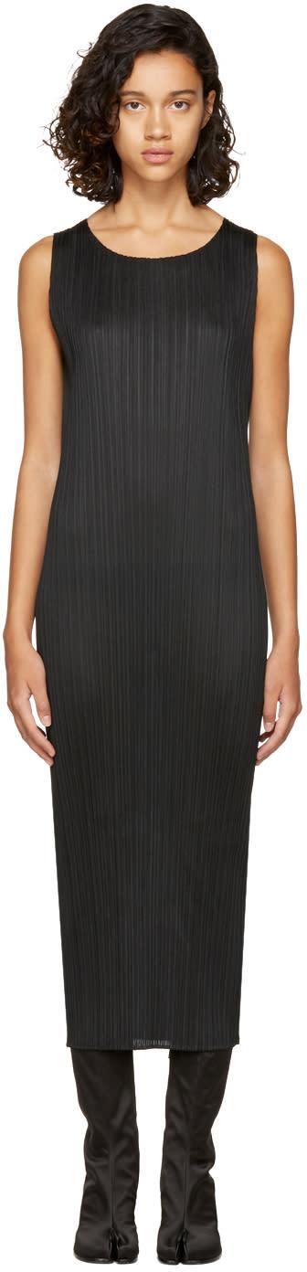 Image of Pleats Please Issey Miyake Black Pleated Basic Tank Dress