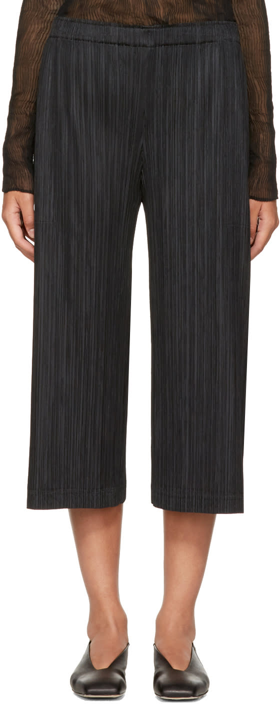 Image of Pleats Please Issey Miyake Black Pleated Trousers