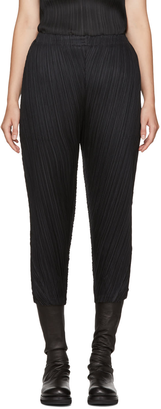 Pleats Please Issey Miyake Pantalon Noir Thicker Bounce
