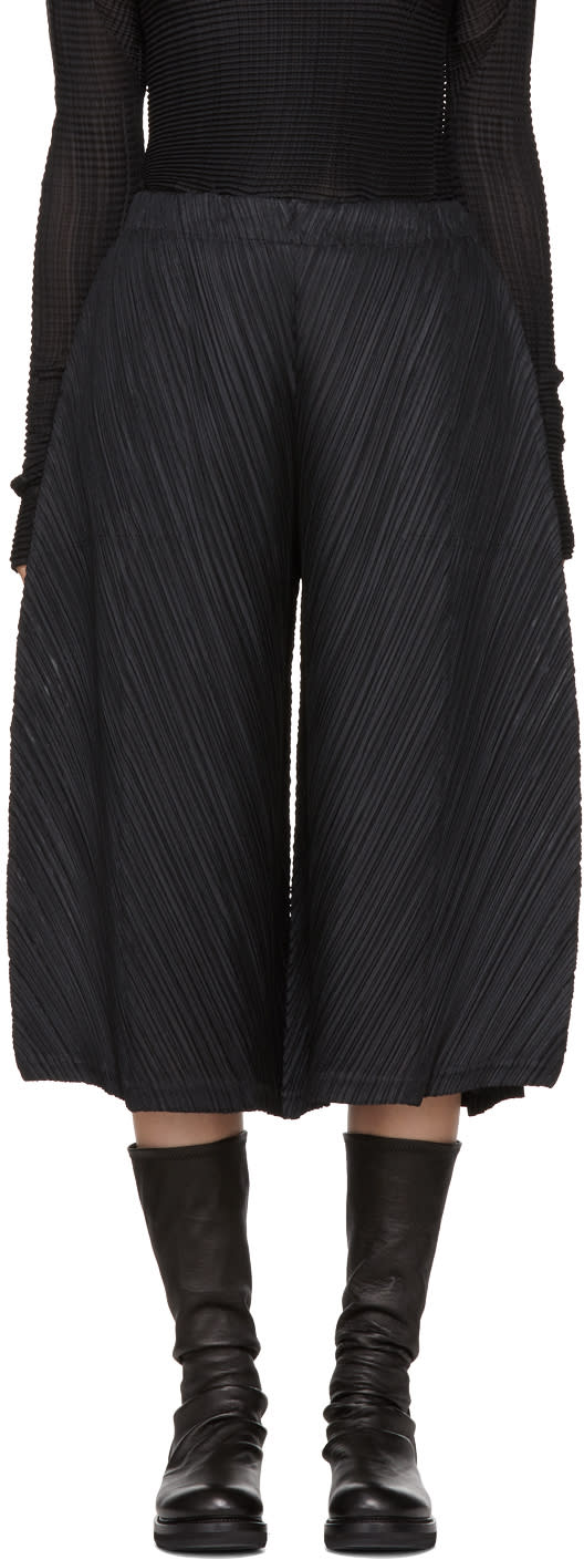 Image of Pleats Please Issey Miyake Black Thicker Bounce Wide Trousers