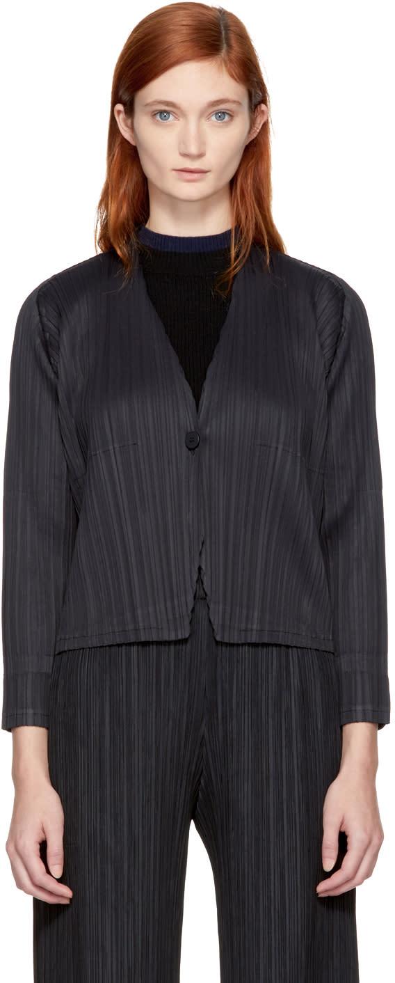 Image of Pleats Please Issey Miyake Black Clay Pleats Jacket