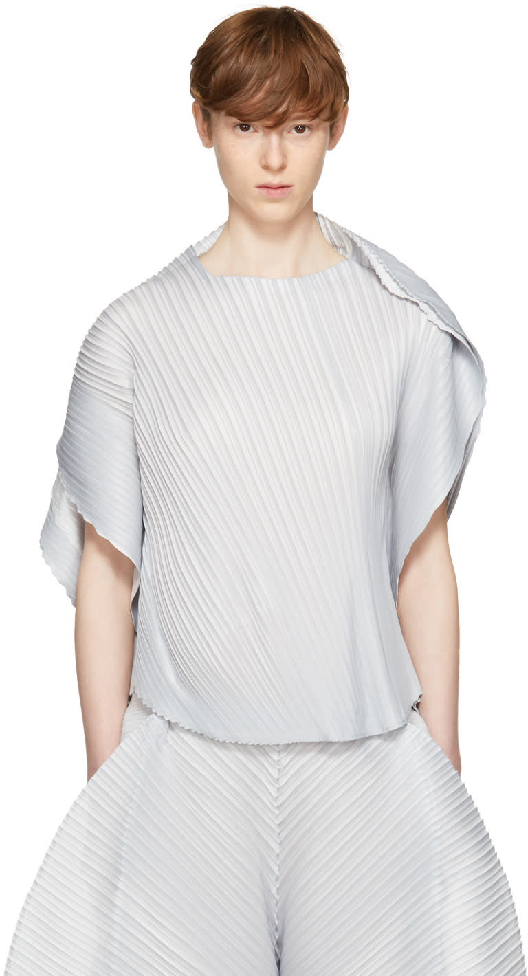 Image of Pleats Please Issey Miyake Grey Alt Leaves T-shirt