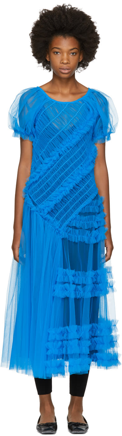 Image of Molly Goddard Blue Barbara Dress