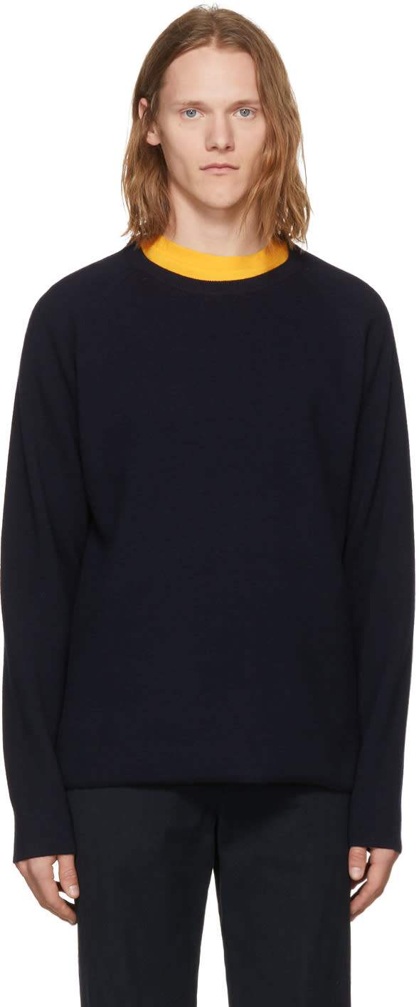 Image of Nonnative Navy Wool Clerk Sweater