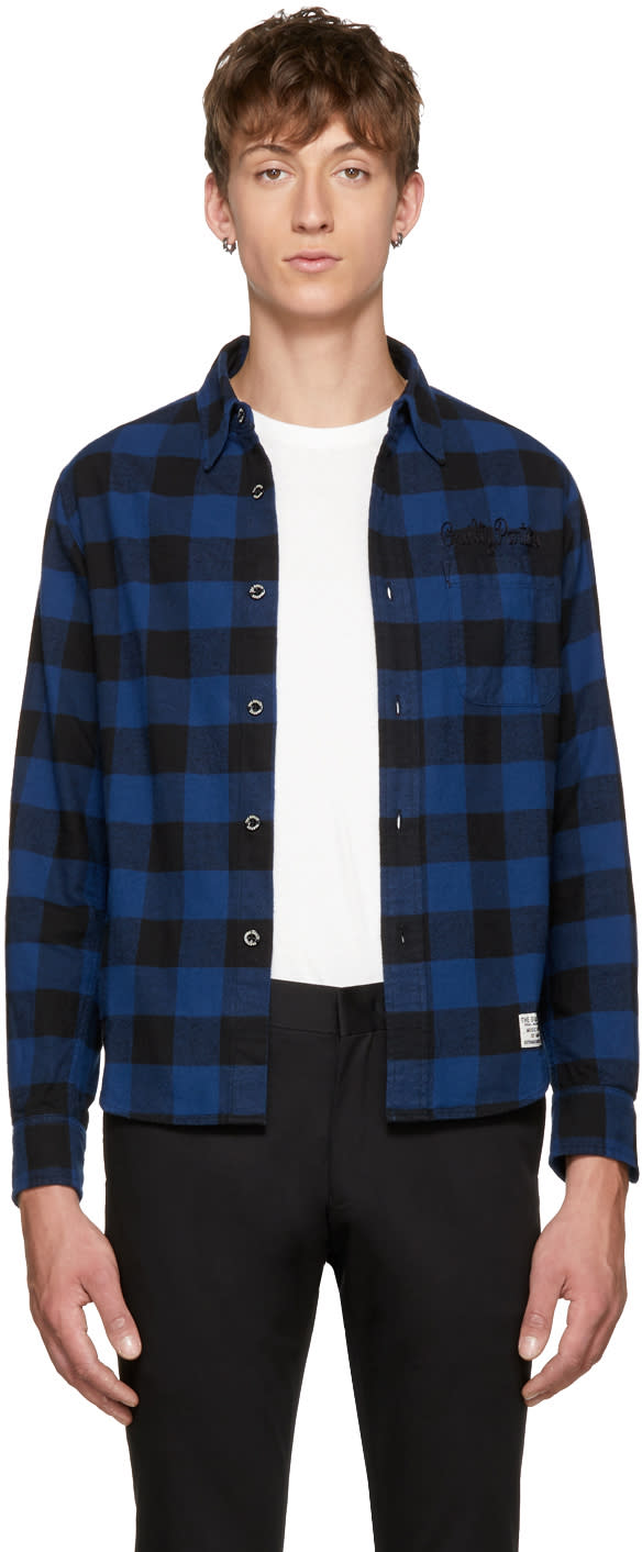 Image of Wacko Maria Black and Blue Block Check Type-8 Shirt