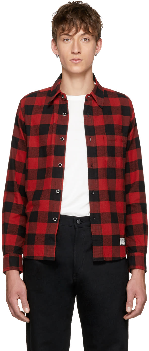 Image of Wacko Maria Black and Red Block Check Type-1 Shirt