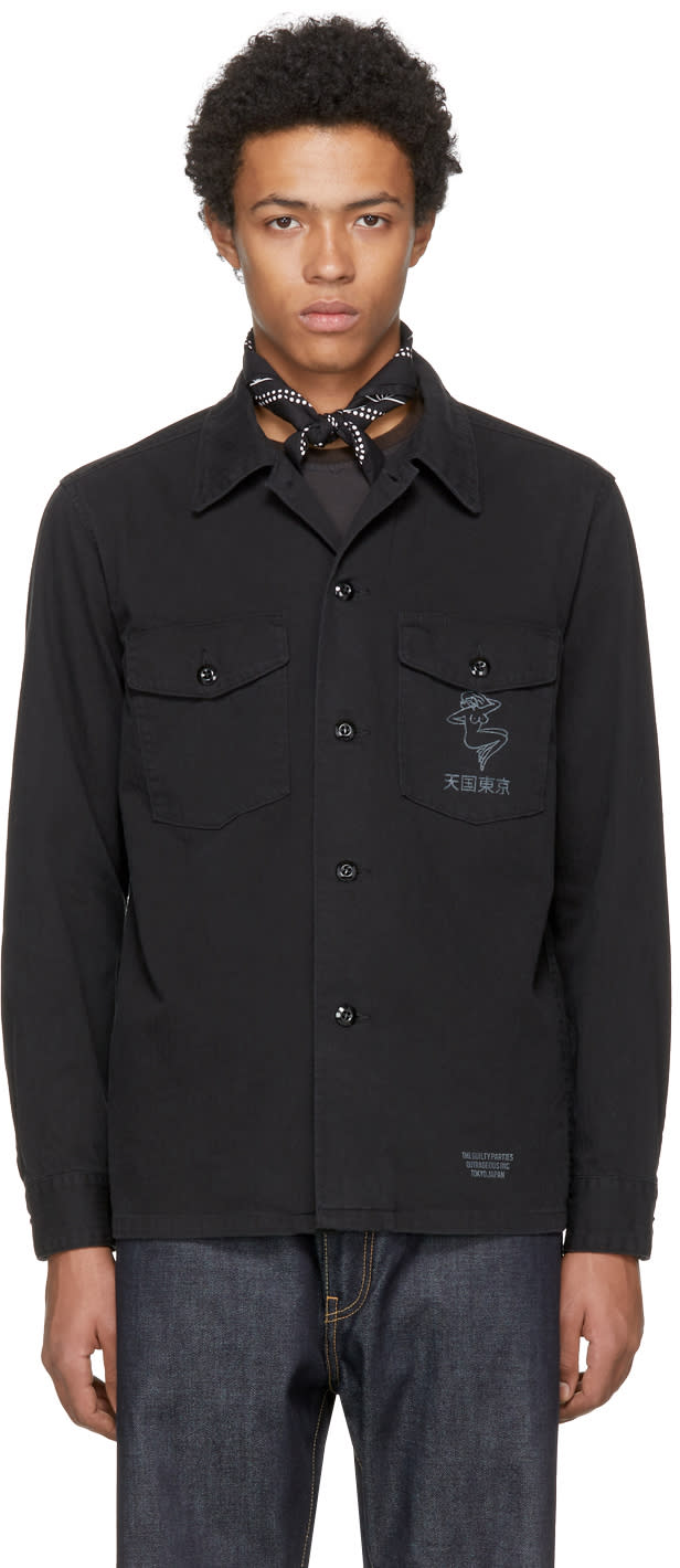 Image of Wacko Maria Black guilty Parties Herringbone Army Shirt