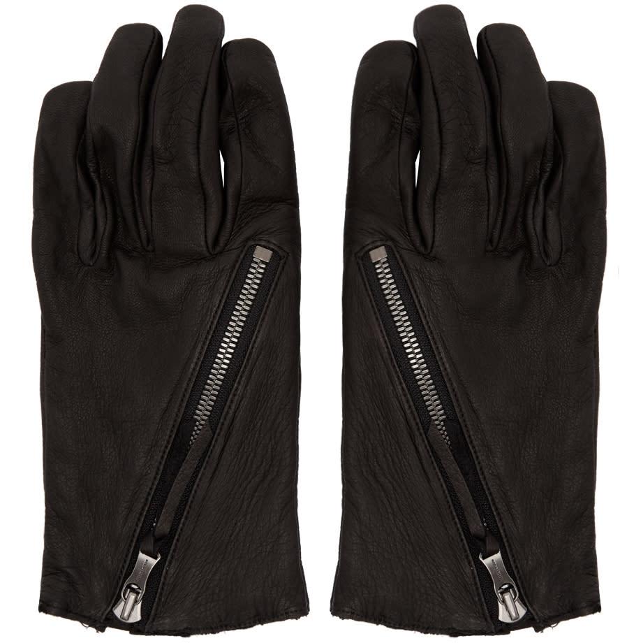Image of The Viridi-anne Black Diagonal Zipper Gloves