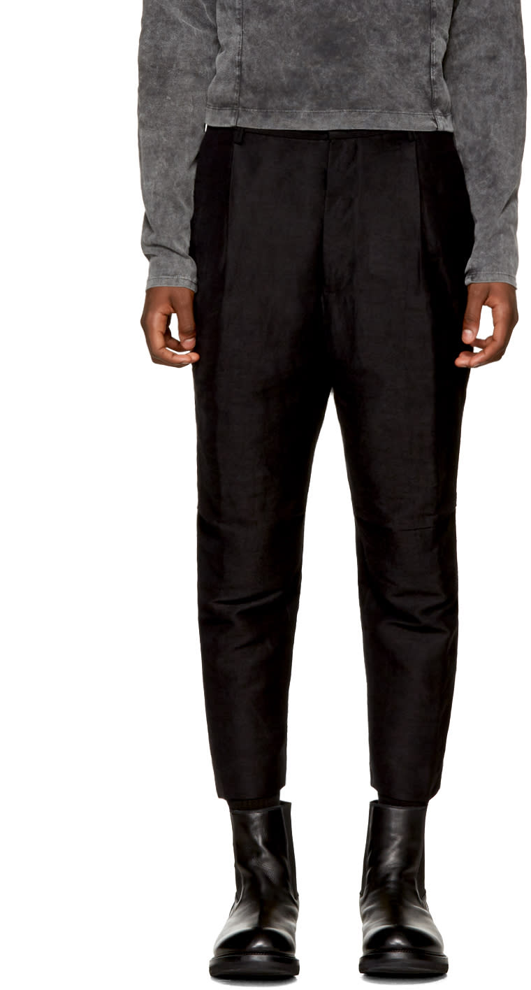 Image of The Viridi-anne Black Linen Straight Trousers
