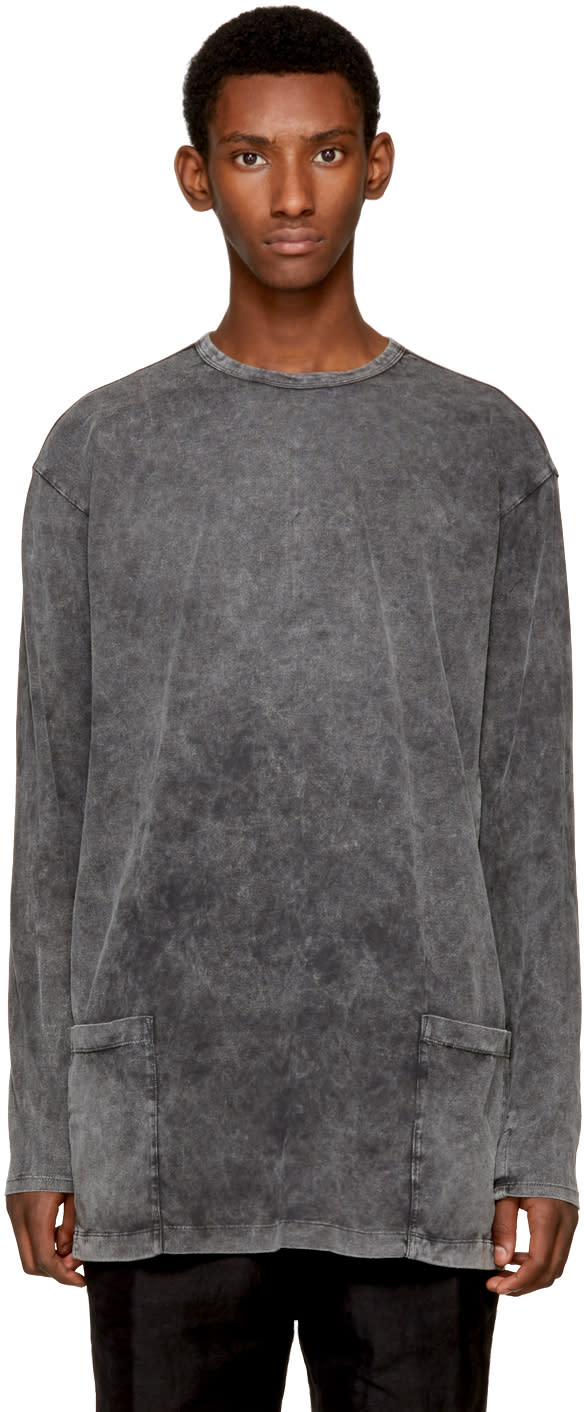 Image of The Viridi-anne Grey Long Sleeve Double Pocket T-shirt