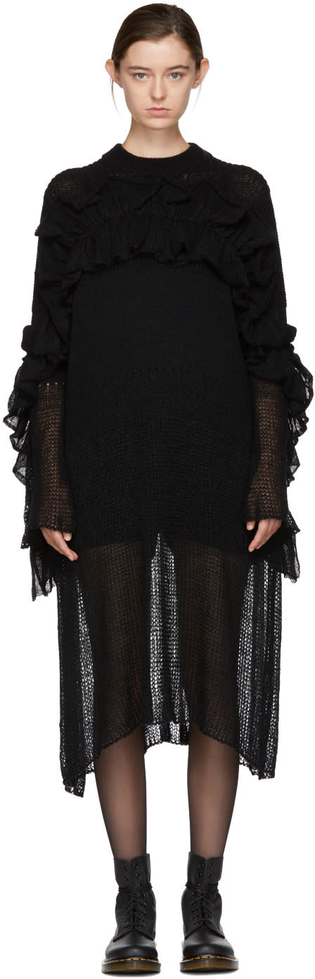 Image of Chika Kisada Black Wrapped Ruffle Dress