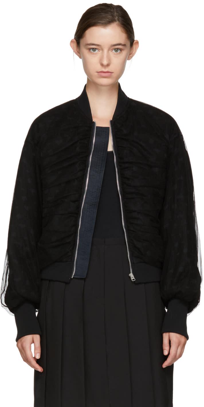 Image of Chika Kisada Black Ruched Sleeve Bomber Jacket