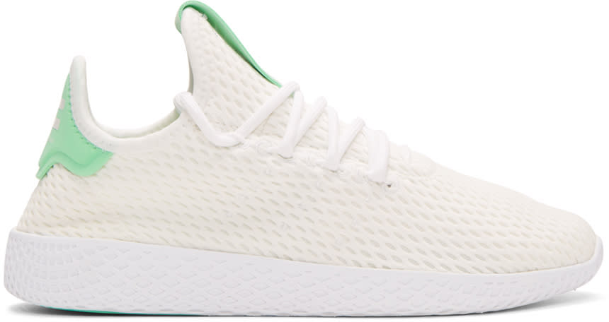 Image of Adidas Originals X Pharrell Williams White and Green Tennis Hu Sneakers