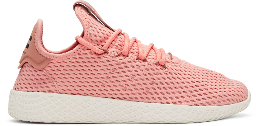 Image of Adidas Originals X Pharrell Williams Pink Tennis Hu Sneakers