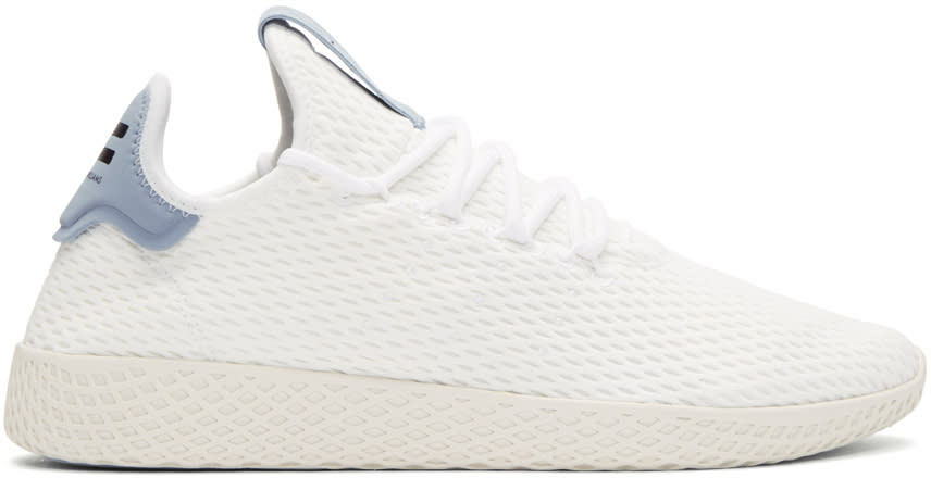 Image of Adidas Originals X Pharrell Williams White and Blue Tennis Hu Sneakers