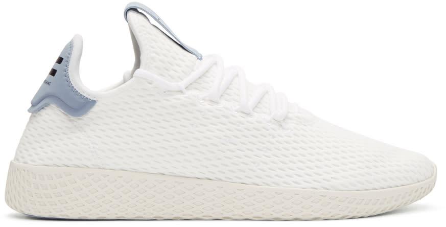 Adidas Originals X Pharrell Williams ホワイト and ブルー テニス Hu スニーカー