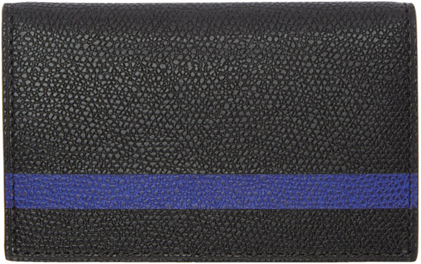 Image of Valextra Black and Blue Stripe Business Card Holder
