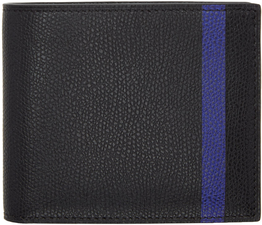 Image of Valextra Black and Blue Stripe 6cc Bifold Wallet