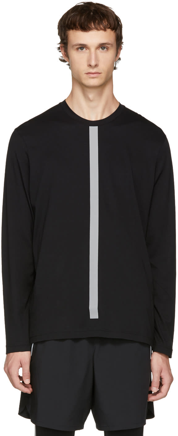 Image of Blackbarrett By Neil Barrett Black Long Sleeve Reflective Stripes T-shirt
