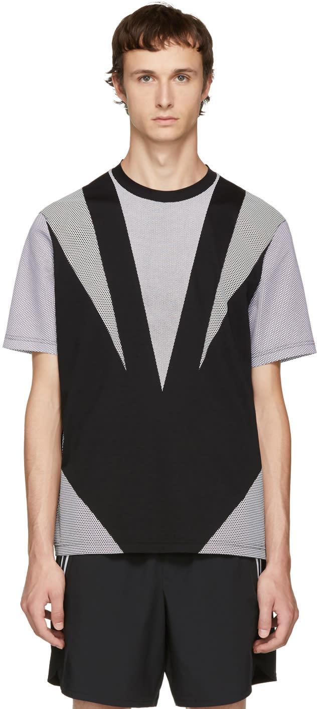 Image of Blackbarrett By Neil Barrett Black and White Angle Sport Mesh T-shirt