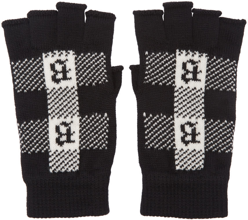 Image of Brioni Black Fingerless Gloves