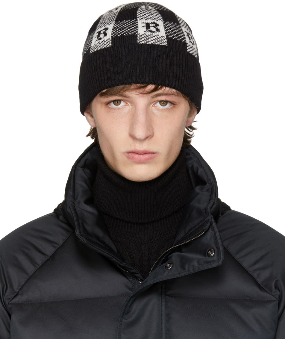 Image of Brioni Black and White Logo Print Beanie