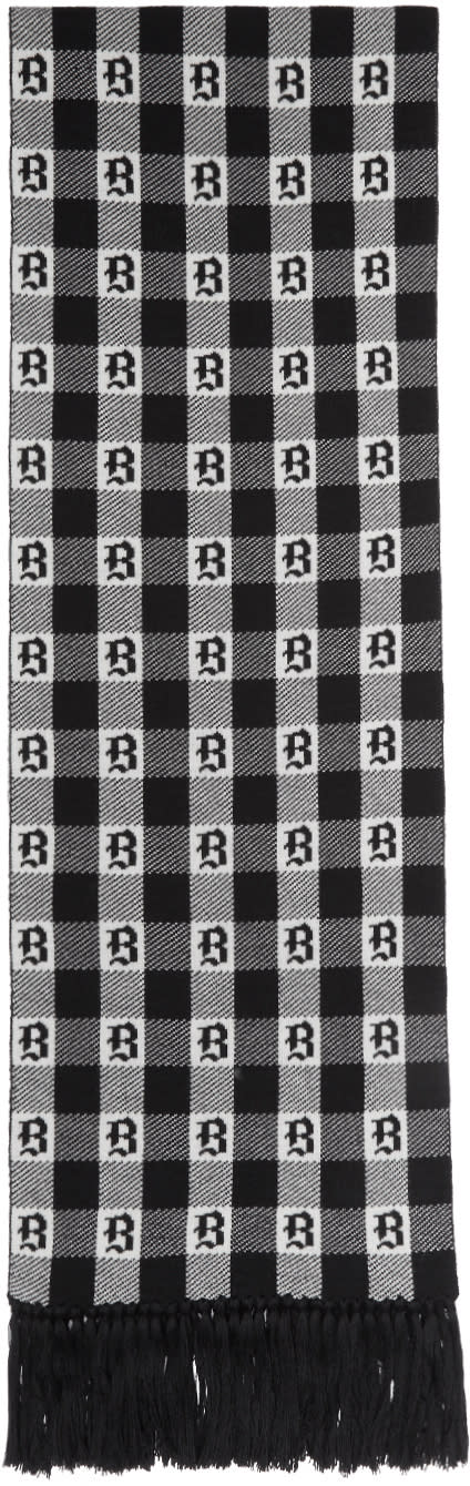 Image of Brioni Black and White Gothic Check Scarf