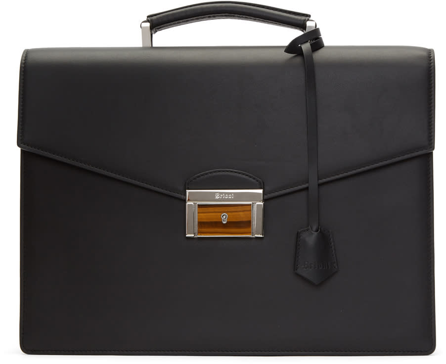 Image of Brioni Black Double Gusset Briefcase