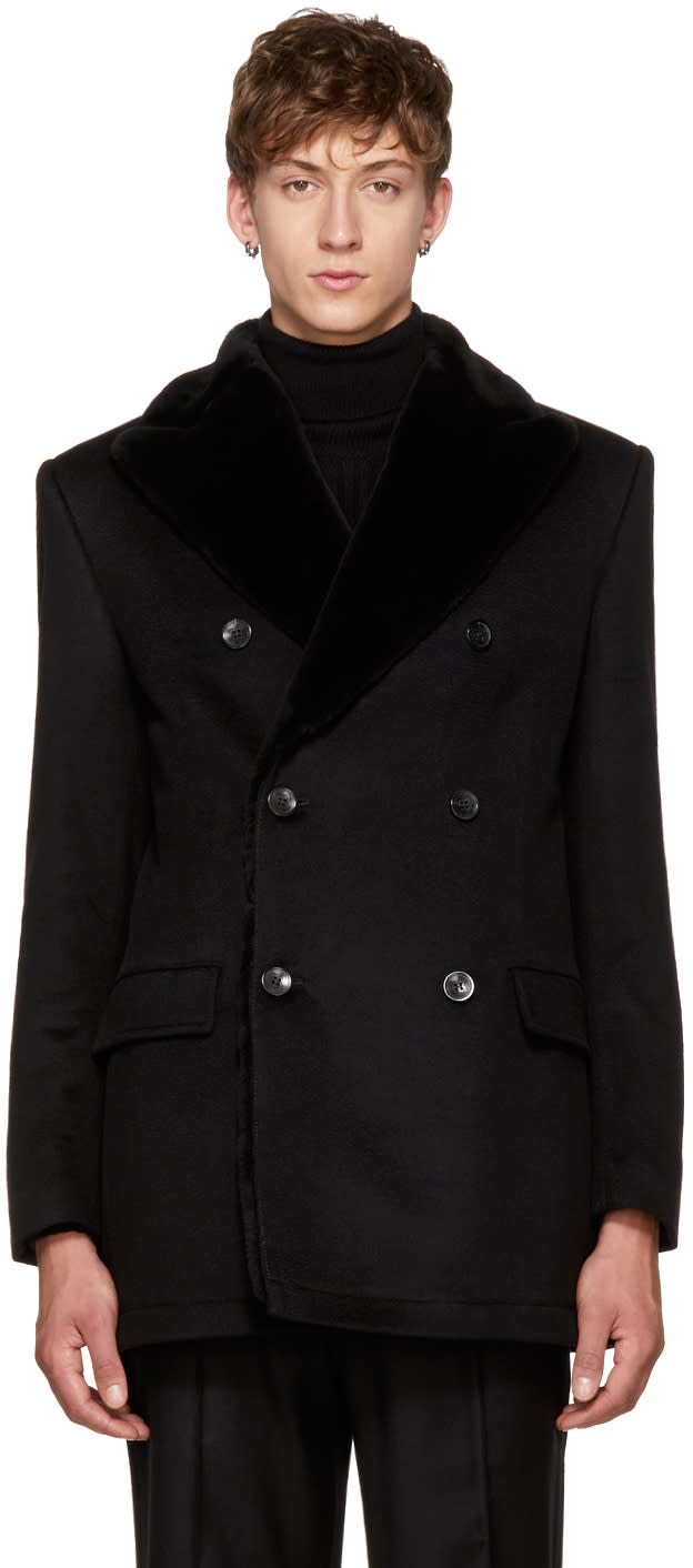 Image of Brioni Black Fur-lined Double-breasted Coat