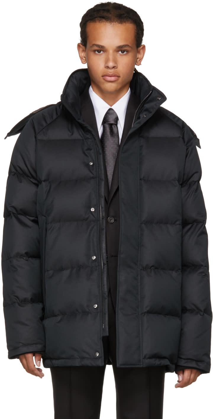 Image of Brioni Black Down Hooded Puffer Jacket