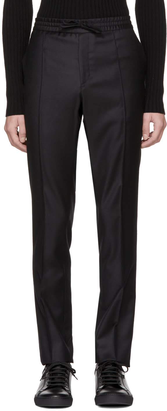 Image of Brioni Black Drawstring Trousers