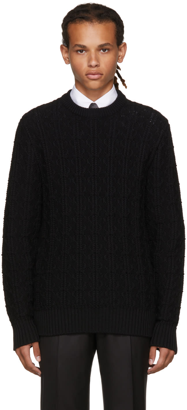 Image of Brioni Black Cable Knit Crewneck Sweater