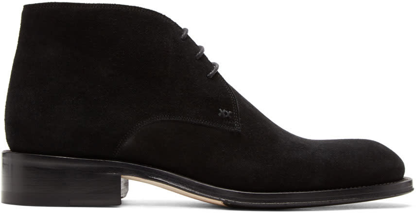 Image of Brioni Black Suede Mosley Military Boots