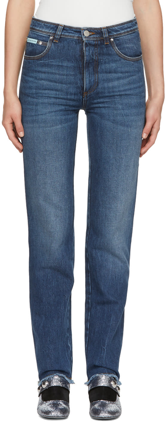 Image of Alexachung Blue Triple Stitch Frayed Jeans