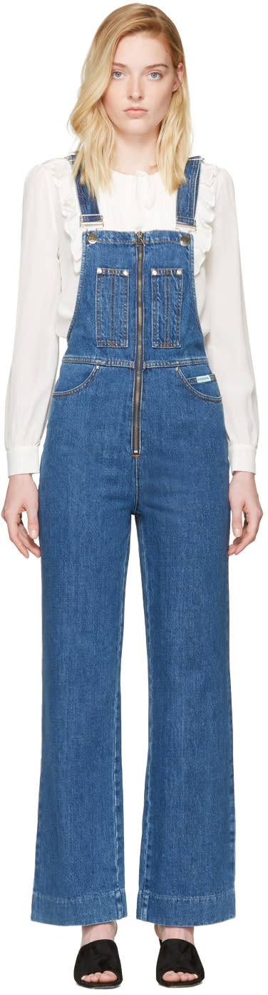 Image of Alexachung Blue Zip Front Overalls