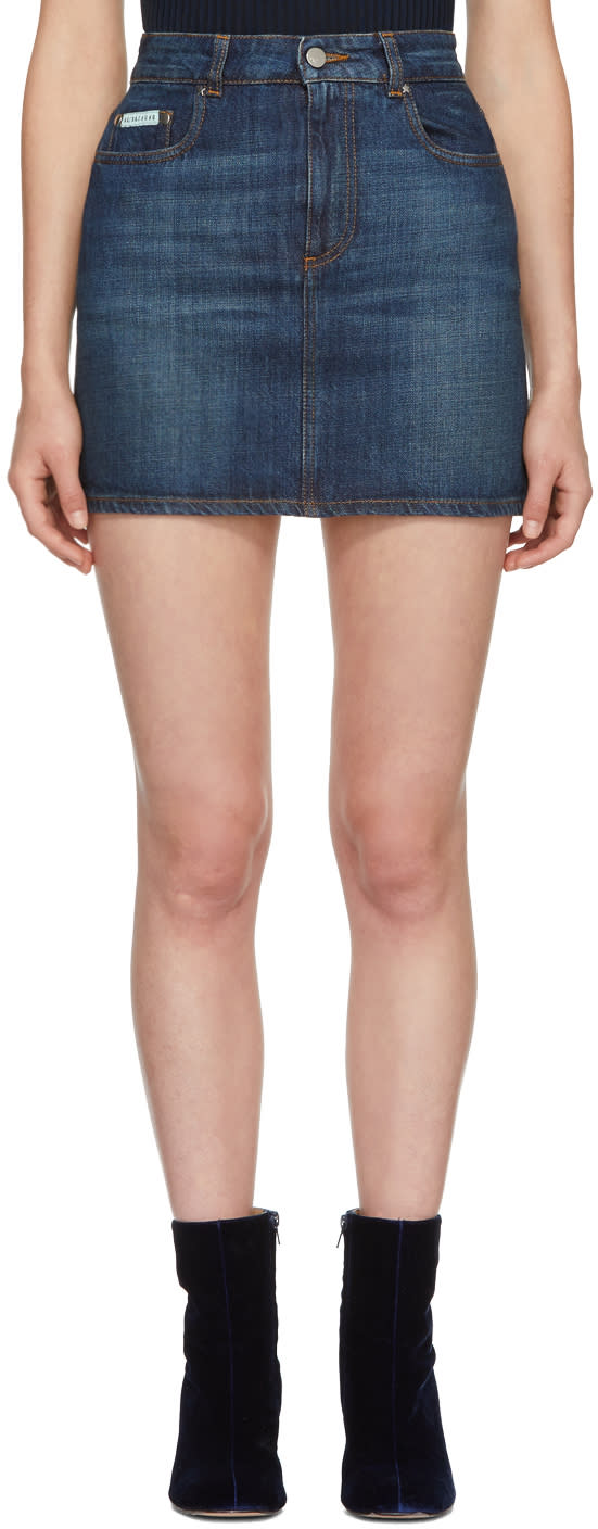 Image of Alexachung Blue Denim Miniskirt
