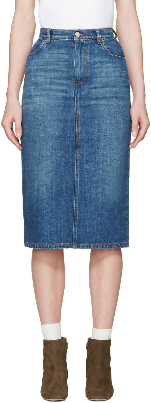 Image of Alexachung Blue Denim Midi Skirt