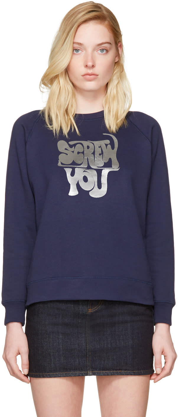 Alexachung Navy screw You Sweatshirt