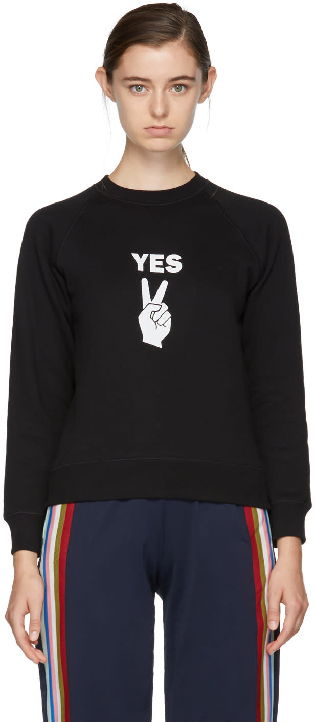 Image of Alexachung Black yes Peace Sign Sweatshirt