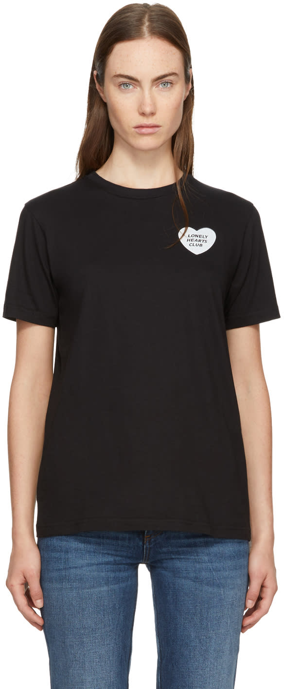 Image of Alexachung Black lonely Hearts Club Badge Boxy T-shirt