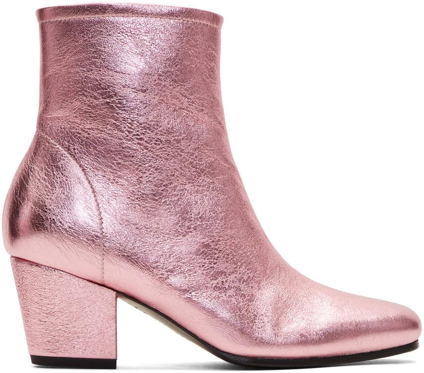 Alexachung Pink Metallic Beatnik Boots