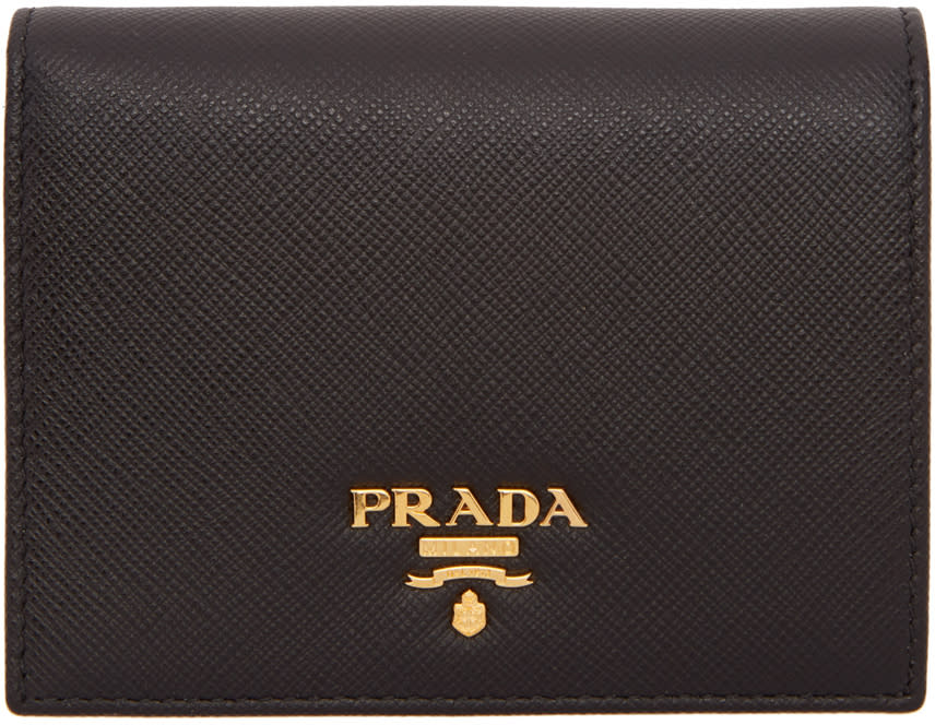 Image of Prada Black and Pink Logo Wallet