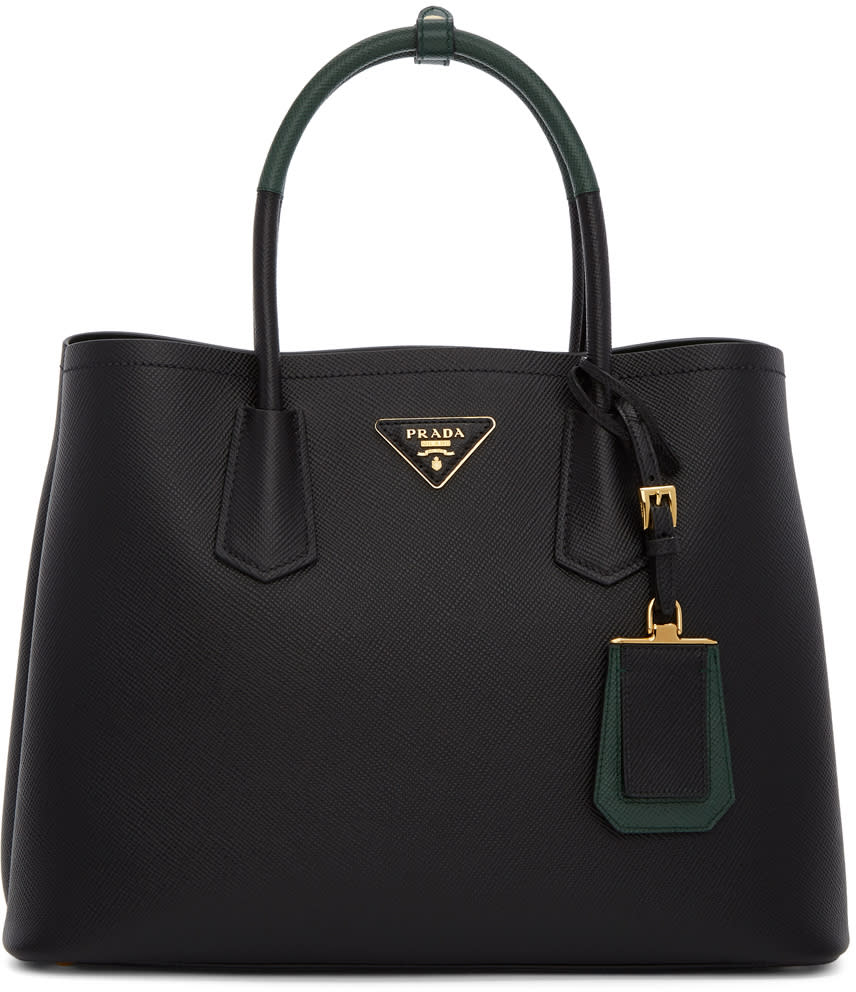 Image of Prada Black and Green Double Saffiano Tote