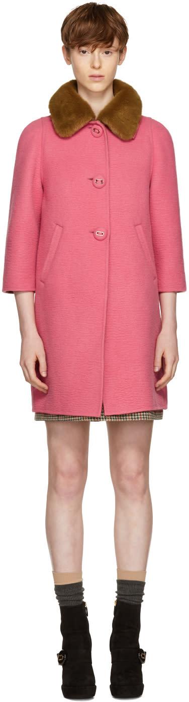 Prada Pink Fur Collar Camel Coat