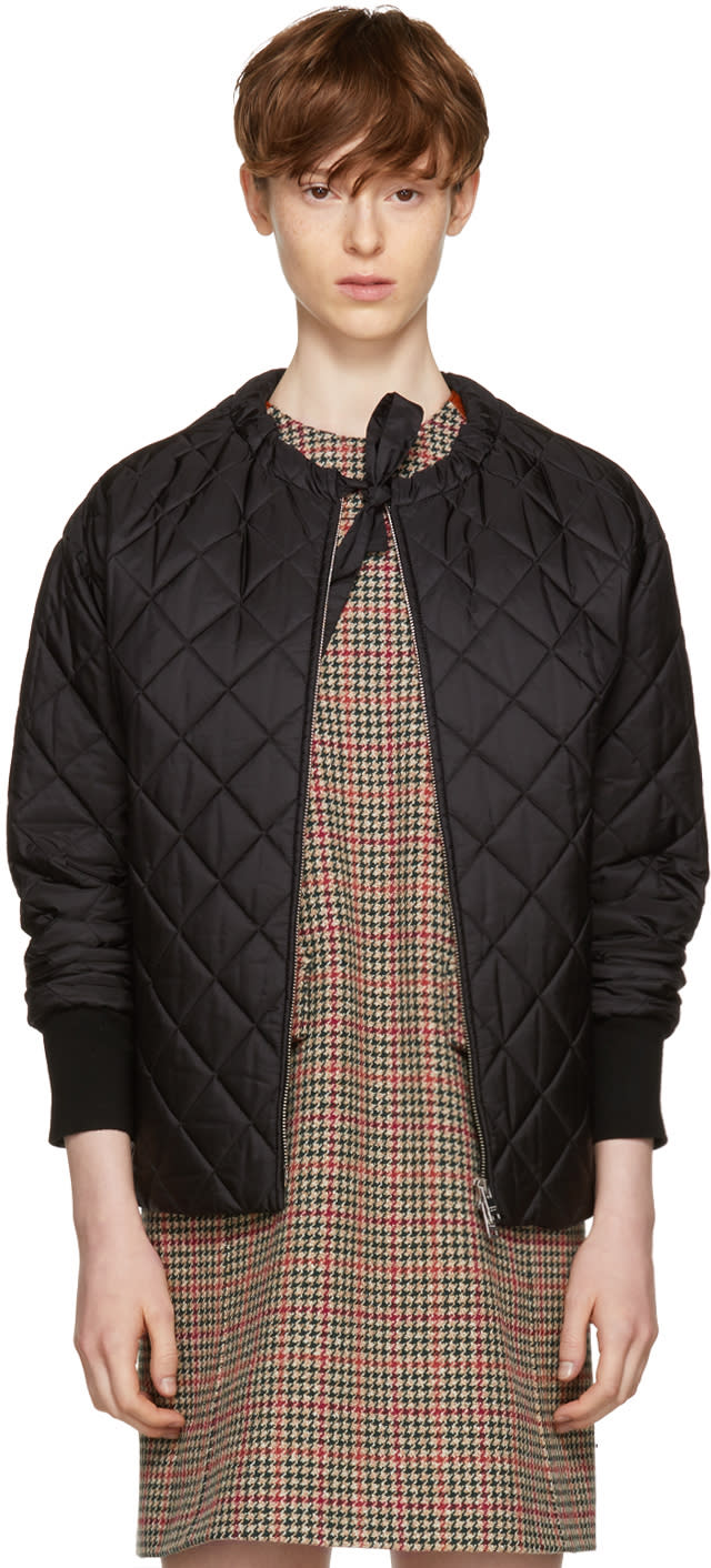 Image of Prada Black Down Collarless Jacket