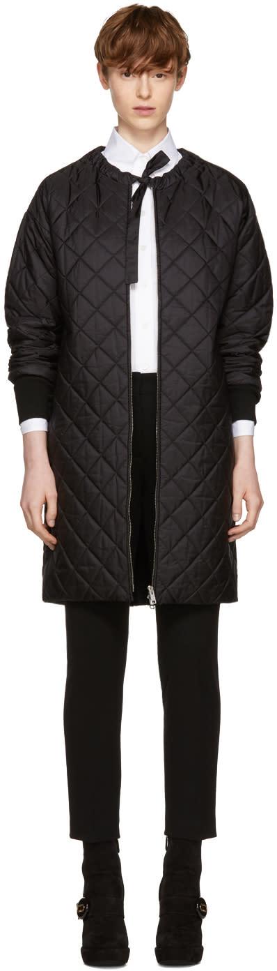 Image of Prada Black Down Collarless Coat