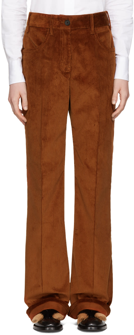 Prada Pantalon à Jambe Ample En Velours Côtelé Orange